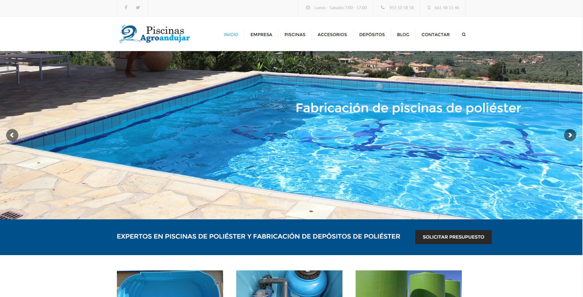 diseño web para fabrica de piscinas de poliester