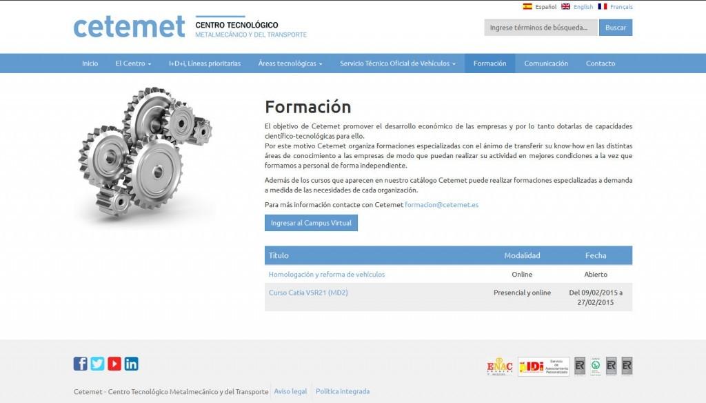 diseño web para Centro Tecnológico Metalmecánico y del Transporte (CETEMET)