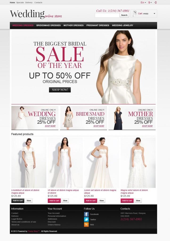 prestashop tienda online trajes de novia y madrinas