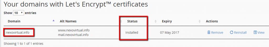 listado de certificados ssl instalados