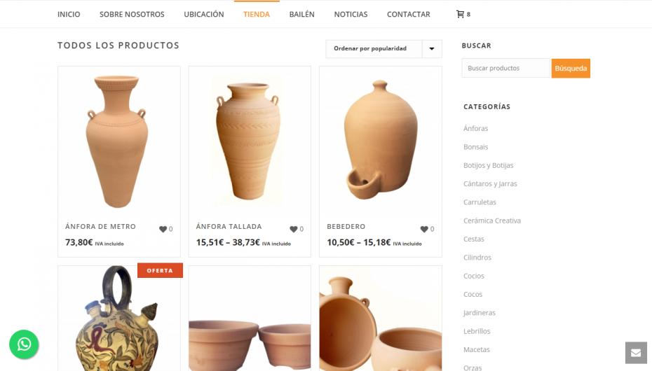 diseño tienda alfareria online