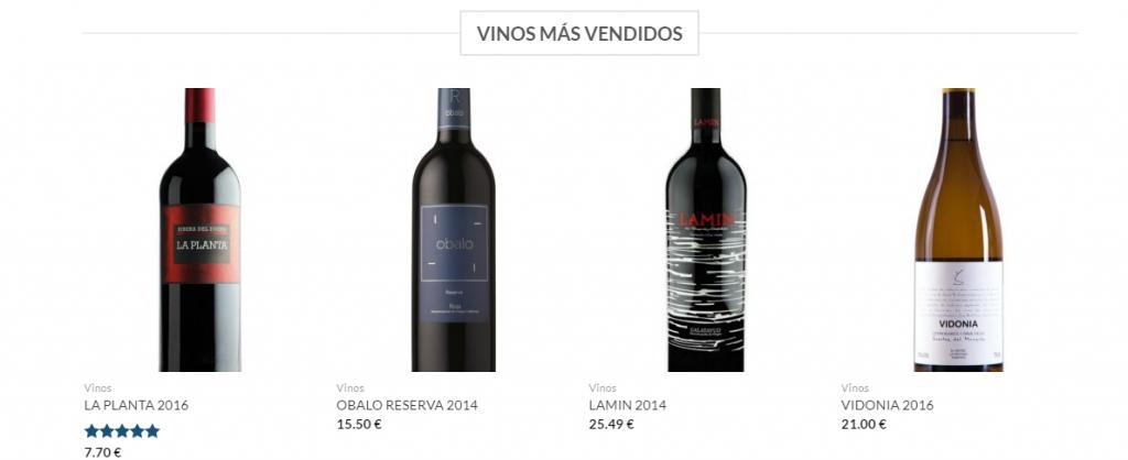 aspecto diseño de tienda vinos online